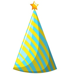 Party hat with yellow and blue striped vector
