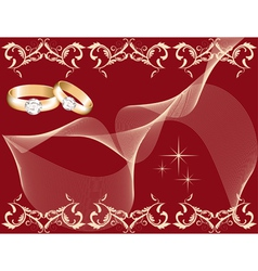 Wedding theme with golden rings vector