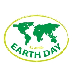 Earth day green grunge map stamp style symbol vector