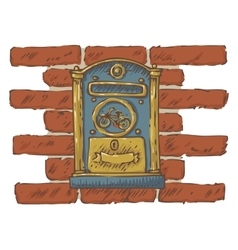 Mail delivery blue retro mailbox on a red brick vector