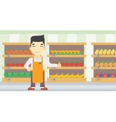 Friendly supermarket worker vector