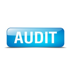 Audit blue square 3d realistic isolated web button vector