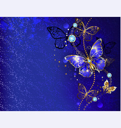 Blue background with sapphire butterfly vector