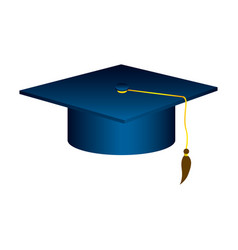 Blue graduation hat icon vector