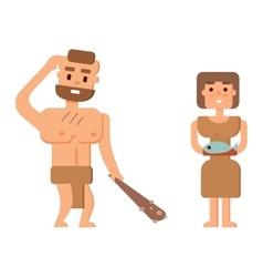 Caveman primitive stone age people vector image