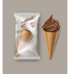 Chocolate Soft Ice Cream Waffle Cone and Foil vector image vector image