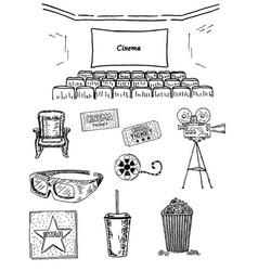 cinema set ink hand drawn vector image