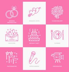 Event agency wedding organization line vector