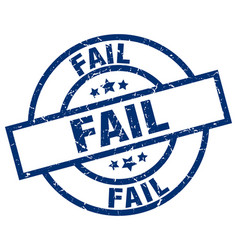 Fail blue round grunge stamp vector
