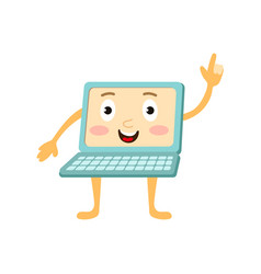 Flat funny laptop character points out vector