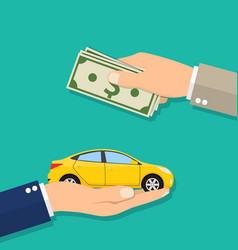 Hand of businessman with money buying a car vector