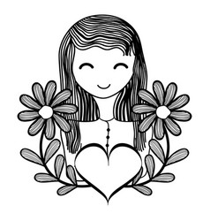 Happy woman with flowers branches and heart vector