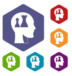 Head with queen and pawn chess icons set hexagon vector