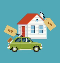 House and car for sale vector