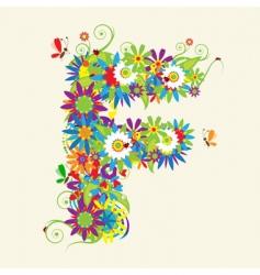 letter F floral design vector image vector image