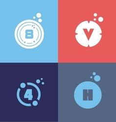 Letter number flat logo set vector image