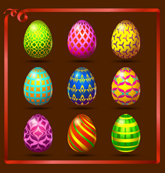 Multi colored easter eggs on a brown background vector