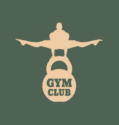 Muscular man posing bodybuilding emblem vector