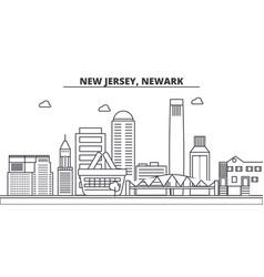 New jersey newark architecture line skyline vector