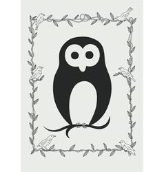 Owl bird in frame vector