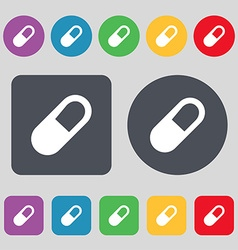 Pill icon sign a set of 12 colored buttons flat vector