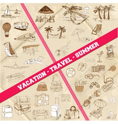 Set of Travel Summer and Vacation Theme vector image vector image