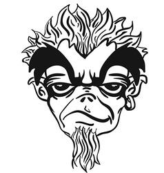 Simple black and white freaky bearded monster vector