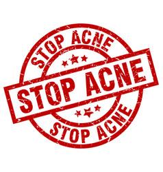 Stop acne round red grunge stamp vector