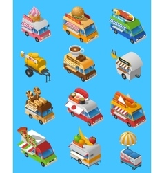 Street food trucks isometric icons set vector