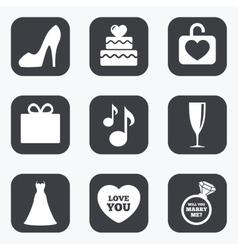 Wedding engagement icons Cake gift box vector image vector image