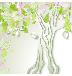 with stylized spring tree vector image
