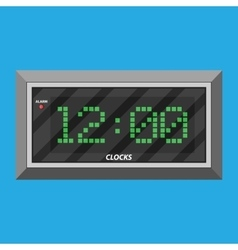 Modern digital clock with green digits vector image