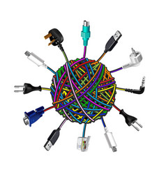 Tangled cables in clew on white background vector