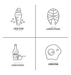 Sport nutrition pictograms vector