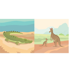 adult kangaroo with baby and vector image