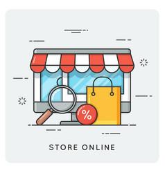 Store online flat line art style concept vector