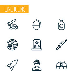 Warfare outline icons set collection of bombshell vector