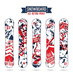 Ice retro print for snowboard vector