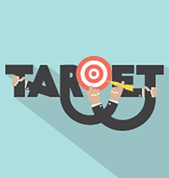 Target with dart arrow in hand typography design vector
