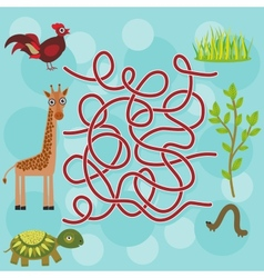 Chicken giraffe turtle labyrinth game for vector
