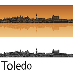 Toledo skyline in orange background in editable vector