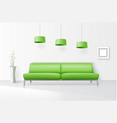 White interior with realistic sofa vector