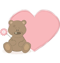 Teddy bear and big heart vector