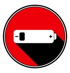 Red information icon white battery low vector