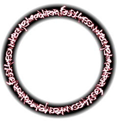 Circular red neon graffiti tags on black vector