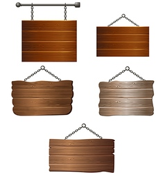 Set of wooden board vector