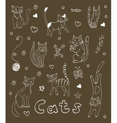 Set of hand drawn cats White silhouettes on black vector image