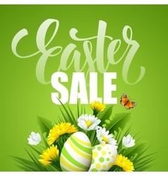 Easter greeting lettering flower egg vector