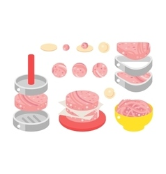 Meat products flat design vector