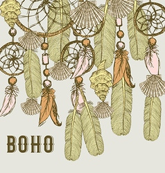 Boho background with feathers and shells vector